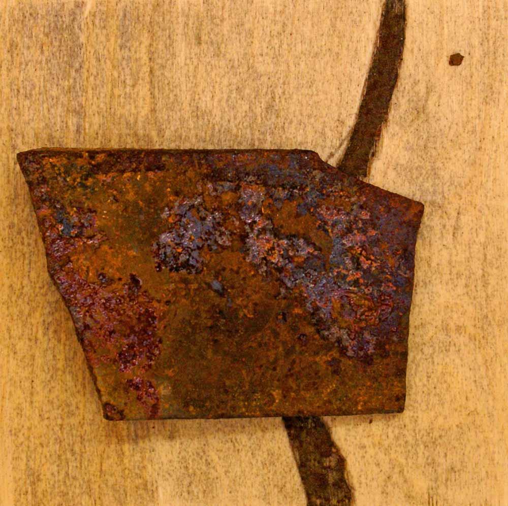 ROST-15-Serie-6-1-7-(4),-18x18cm,-Metall-auf-Holzplatte,-2011