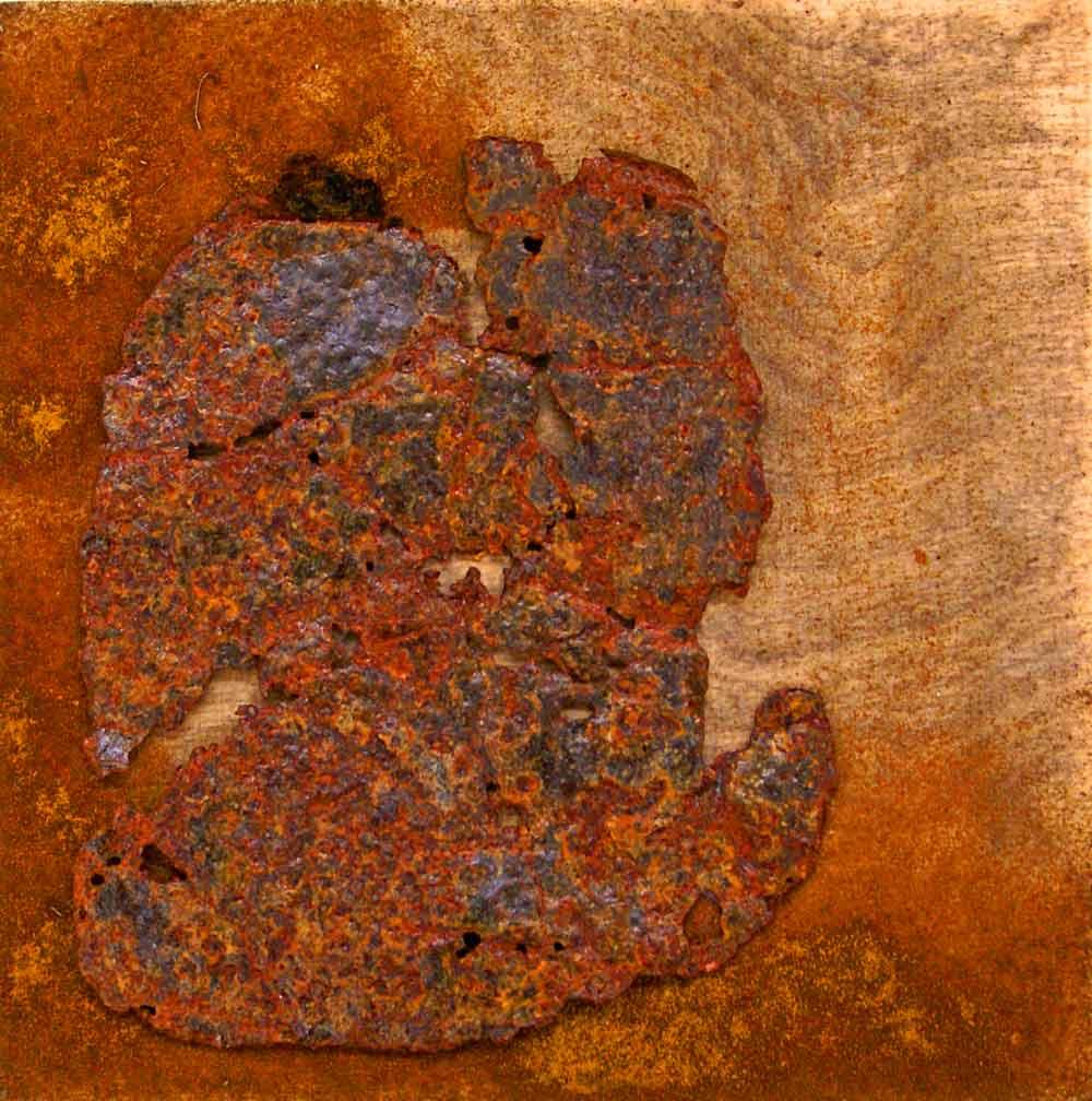 ROST-15-Serie-6-1-7-(5),-18x18cm,-Metall-auf-Holzplatte,-2011