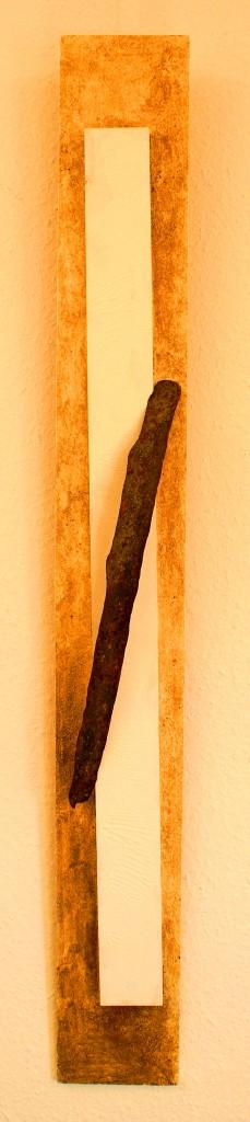 ROST 18, 13,5x113,5cm, Mischtechnik & Metall auf Holzplatte, 2011