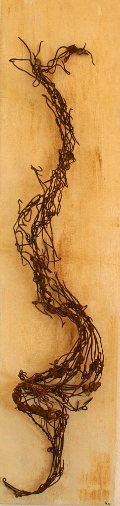 ROST 21, 23x98cm, Mischtechnik & Metall auf Holzplatte, 2011