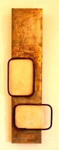 ROST 22, 20x89cm, Mischtechnik & Metall auf Holzplatte, 2011