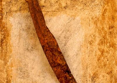 ROST 30, 34x49,5cm, Mischtechnik & Metall auf Holzplatte, 2011