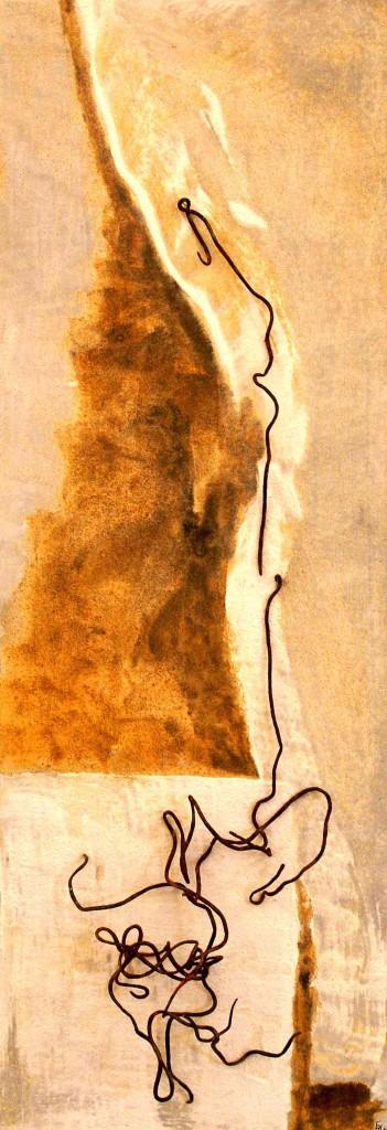 ROST-32,-24x69,5cm,-Mischtechnik-&-Metall-auf-Holzplatte,-2011