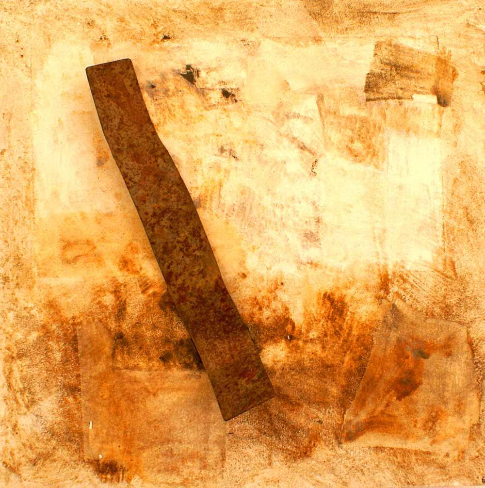 ROST-34,-55x55cm,-Mischtechnik-&-Metall-auf-Holzplatte,-2011