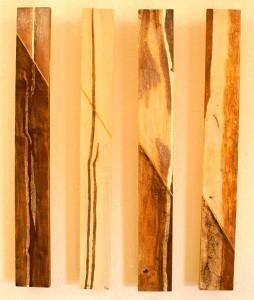 ROST-39-Serie-7,-4mal-10x80cm,-Mischtechnik-auf-Holz,-2011