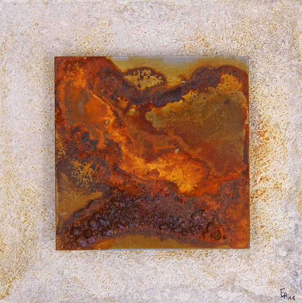 ROST-9-Serie1-2,-4mal-16x16cm,-Metallplatte-auf-MDF-Platte,-2011