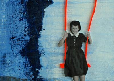 Titel: happy days 2, 50x60cm, Collage/Mischtechnik auf Leinwand, 2021