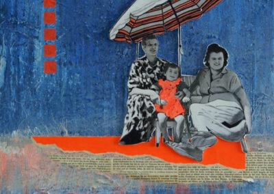 Titel: Titel: happy-days1, 50x50cm, Collage/Mischtechnik auf Leinwand, 2021