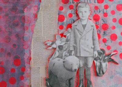 Titel: little boy 1, 50x50cm, Collage/Mischtechnik auf Leinwand, 2021