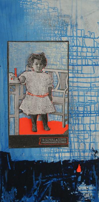 Titel: littel girl 1, 40x80cm, Collage/Mischtechnik auf Leinwand, 2021
