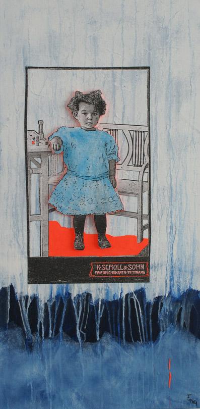 Titel: littel girl 2, 40x80cm, Collage/Mischtechnik auf Leinwand, 2021