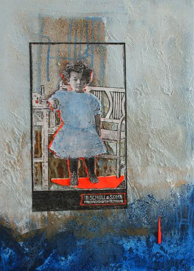 Titel: littel girl 3, 50x70cm, Collage/Mischtechnik auf Leinwand, 2021