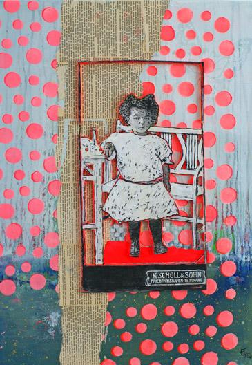 Titel: littel girl 4, 50x70cm, Collage/Mischtechnik auf Leinwand, 2021