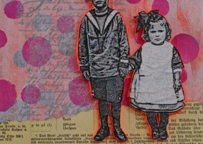 Titel: boy & girl 1, 20x20cm, Mischtechnik/Collage auf Leinwand, 2021