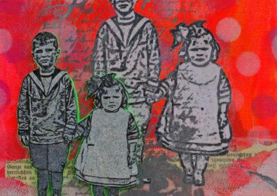 Titel: boy & girl 2, 20x20cm, Mischtechnik/Collage auf Leinwand, 2021