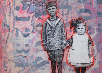 Titel: boy & girl 3, 20x20cm, Mischtechnik/Collage auf Holz, 2021