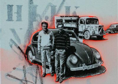 Titel: good time 1, 20x20cm, Mischtechnik/Collage auf Leinwand, 2021