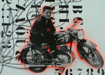 Titel: good time 3, 30x30cm, Mischtechnik/Collage auf Leinwand, 2021