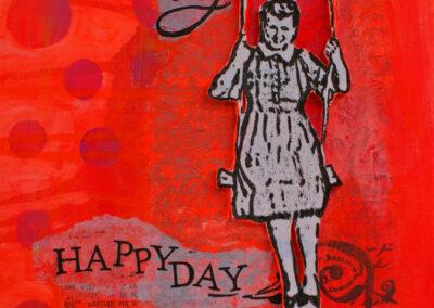 Titel: happy day 7, 20x20cm, Mischtechnik/Collage auf Leinwand, 2021