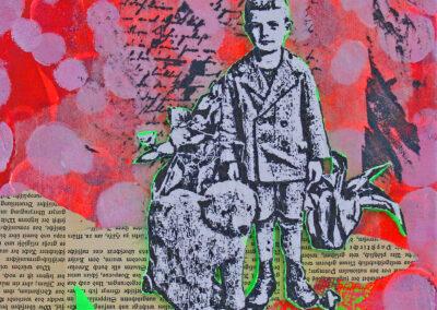 Titel: little boy 2, 24x30cm, Mischtechnik/Collage auf Leinwand, 2021