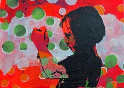 Titel: little girl 7, 30x24cm, Mischtechnik/Siebdruck auf Leinwand, 2021