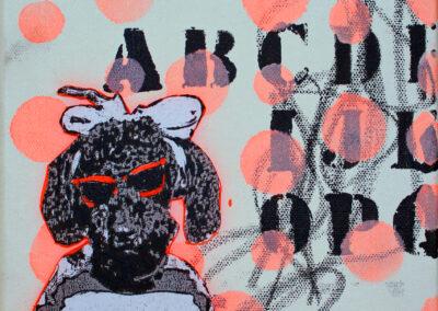 Titel: sunshine dog 1, 20x20cm, Mischtechnik/Collage auf Leinwand, 2021